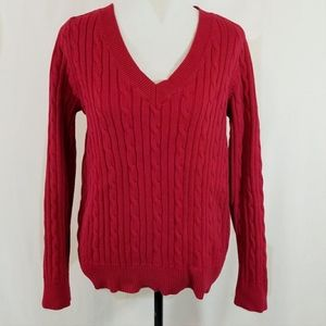 Chaps red V neck cable knit sweater size large